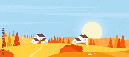 Canvastavla Autumn village farm landscape vector illustration
