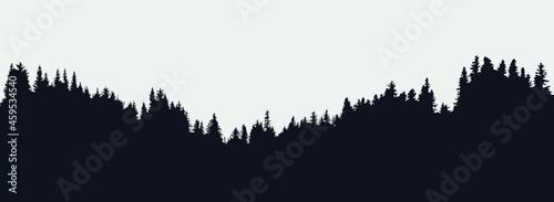Fotografie, Obraz Panoramic black evergreen forest silhouette