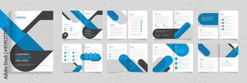 Fotografie, Obraz Business  brochure template design, 16 pages with modern shapes premium vector