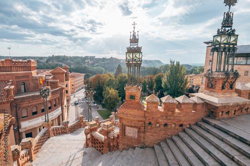 Fototapeta oval staircase of teruel mudejar city in aragon, Spain