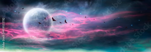 Leinwand Poster Moon In Spooky Night - Halloween Background With Clouds And Bats