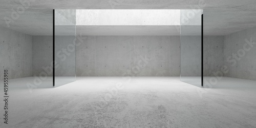 Empty modern abstract concrete room with open ceiling light and glass wall frame Fotobehang