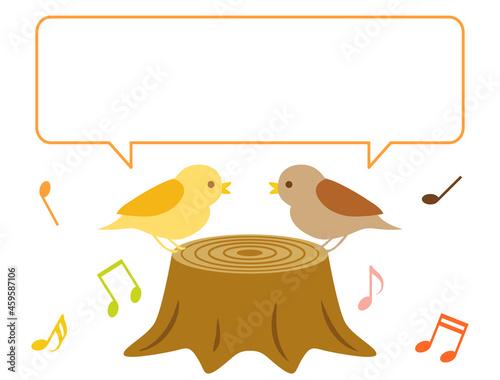 Canvastavla 小鳥たちがお話をしているようなイラスト