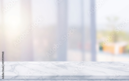 empty marble table top with window curtain blur background Fotobehang