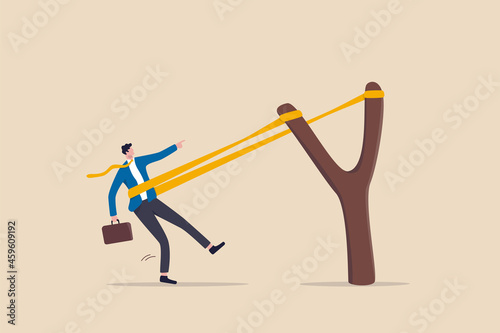 Fotomural Entrepreneurship ready to launch new project or work improvement, boost career development, speed up business growth concept, brave businessman pull rubber band ready to launch slingshot flight