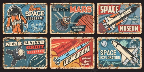 Fotografia Space rockets and planets plates rusty metal, galaxy exploration, vector vintage posters