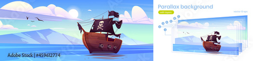 Fotografiet Parallax background for game, pirate ship in sea, filibusters battleship with bl
