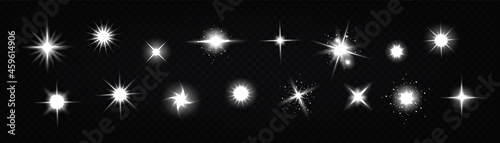 Star light glow, , shiny vector glare, bright white twinkle or explosion effect with radiant beams. Sparkles and magic flare graphic design elements, glitter and fireworks isolated realistic 3d set