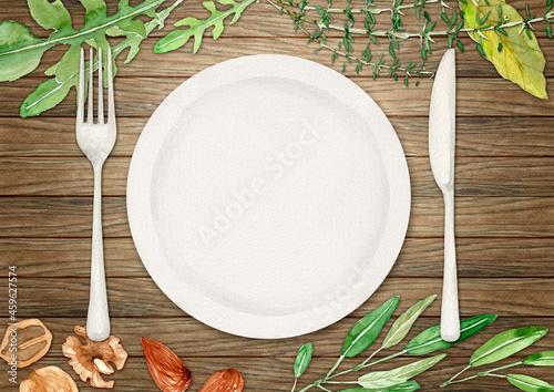 Fotografia, Obraz テーブルウェア ハーブ ナッツ 木製 背景 水彩 イラスト