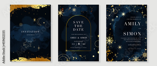 Fotografia Star and moon themed wedding invitation vector template collection