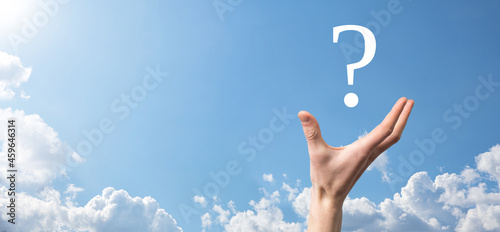 Fotografia, Obraz Businessman man hand hold interface question marks sign web