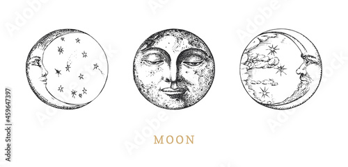 Moon, Crescents set, drawings in engraving style. Fototapete
