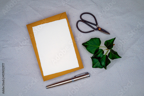 Fototapeta Blank greeting, condolence or invitation mockup with brown envelope, handmade white paper, and ivy as a symbol of reliability, loyalty, immortality, eternal life
