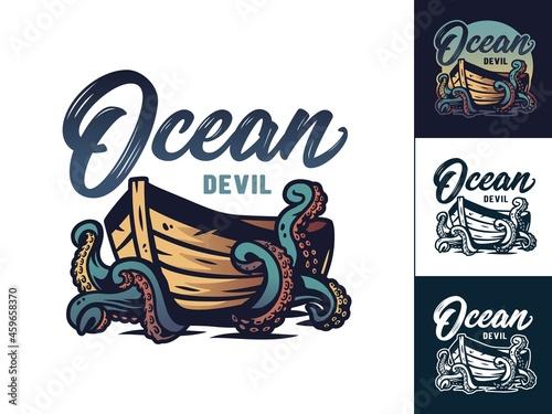 Obraz na plátně Boat or rowboat with octopus