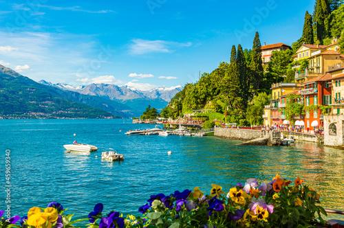 Fototapeta The village of Varenna, on Lake Como, photographed on a summer day
