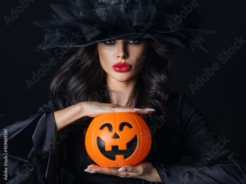 Canvas Print Witch with Halloween pumpkin