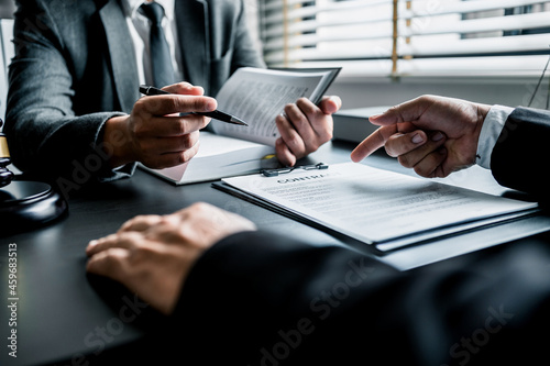 Canvas Close up of businessmen or lawyers discussing contract or business agreement at law firm office, Business people making deal document legal, justice advice service concept