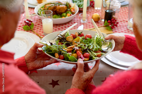 Back view of caucasian senior couple having christmas meal, holding dish