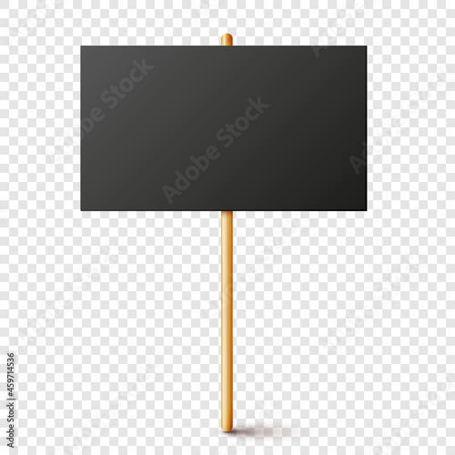 Canvas-taulu Blank black protest sign with wooden holder