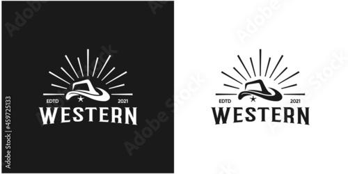 Obraz na plátně illustration abstract western hat, cowboy hat