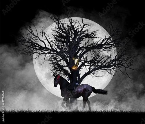 Fotografia, Obraz Illustration of a pumpkin headed horse riding figure against a full moon and dea