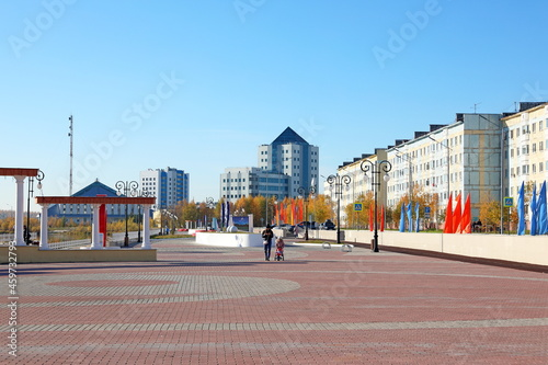 Canvas Summer recreation area of the polar city of Nadym on Yamal in Russia