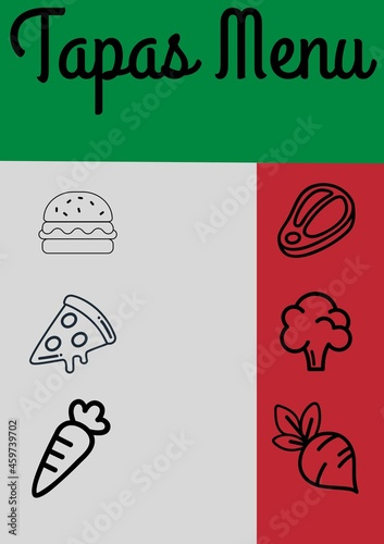 Composition of tapas menu text and fast food and vegetables icons on colourful background