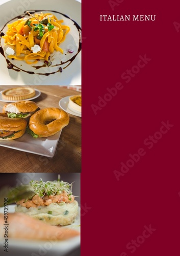 Composition of italian menu text and fresh breakfast on red background