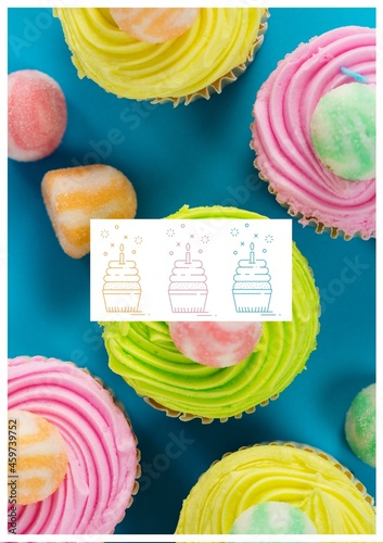 Composition of multiple fresh cupcakes on blue background