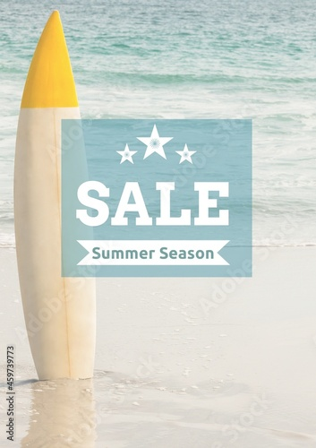 Composition of sale summer season text over surfboard and sea