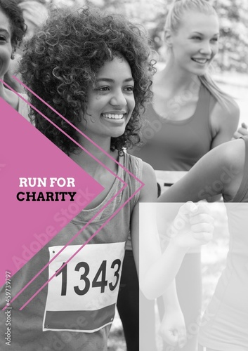 Composition of run for charity text over happy diverse group of female friends running