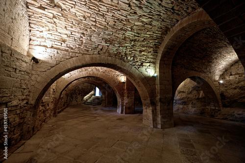 Obraz na plátně San Juan de la Peña, Aragón September 7, 2021, Arches inside the monastery of San Juan de la Peña, a Romanesque work in Huesca