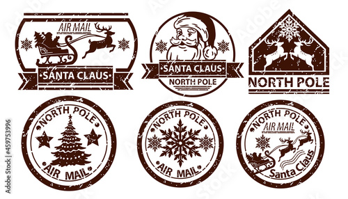Fotografie, Obraz Christmas mail stamp, vector Santa Claus postage, north pole vintage postal sign isolated on white