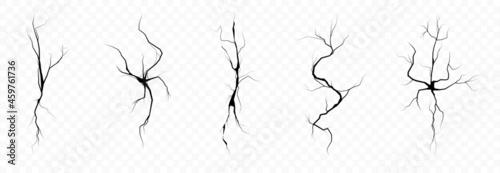 Fotografia, Obraz Damage and cracks vector set isolated on transparent background