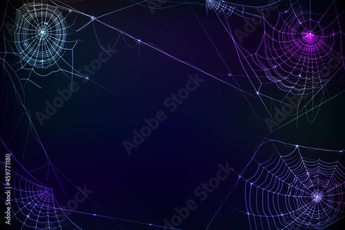 Fotografie, Obraz realistic halloween cobweb background vector design illustration
