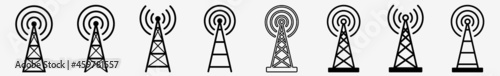 Fotografering Antenna Tower Icon Communication Antenna Tower Set | Antenna Tower Icon Radio Ve
