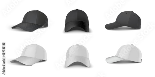 Black and white baseball cap side perspective, side, front view realistic vector template set Fototapete