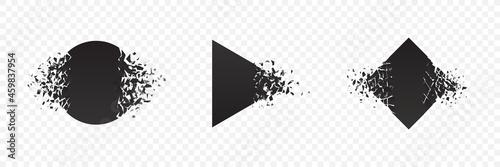 Fototapeta Shape explosion breaked and shattered flat style design vector illustration set isolated on transparent background