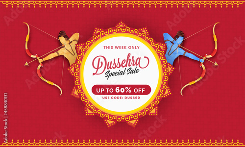 Photo UP TO 60% Off For Dussehra Sale Banner Design With Lord Rama And His Little Brother Lakshman Character
