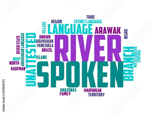Photo arawakan wordcloud concept, wordart, arawakan,flag,national,symbol,background