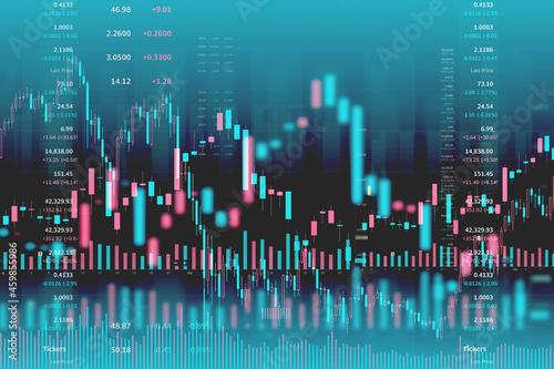 Fotografia Abstract financial market stock charts trading screen monitor background