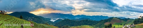 Fotografia, Obraz Panorama view , Morning mist over the mountain range during the rainy season of the hill where the vegetable garden is planted in steps on the mountain of Doi Mon Cham, Chiang Mai, Thailand