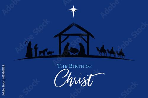 Murais de parede Nativity scene silhouette Jesus in manger, shepherd and wise men on night sky