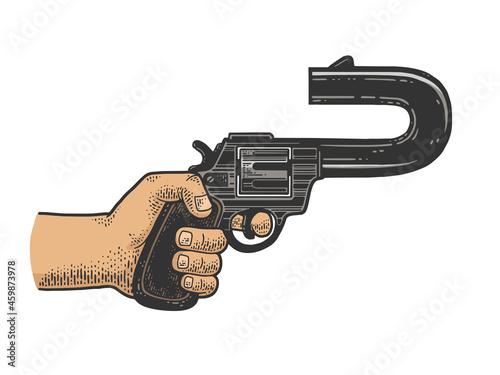 Fototapeta absurd revolver with a curved barrel pointing back color sketch engraving vector illustration