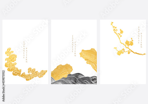 Photo Japanese background with gold and black texture vector