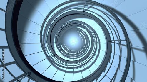 Fotografie, Obraz Endless modern spiral staircase. 3D render