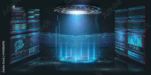 Abstract style on black background. Blank display, stage or podium for show product in futuristic cyberpunk style. Technology demonstration. Futuristic circle 3D lab stage with HUD elements for UI,GUI