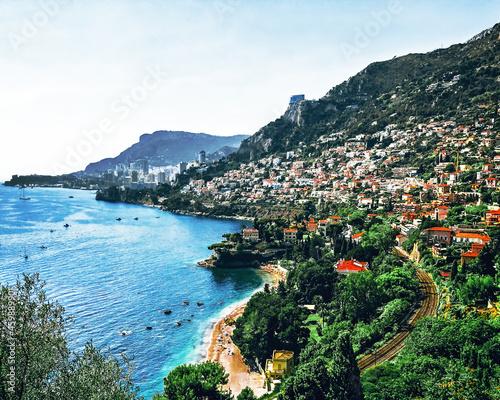 Cap Martin sea coast panorama and Monaco town, cote d'azur, France фототапет