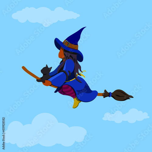 Carta da parati A Witch on a Broomstick, The Enchantress