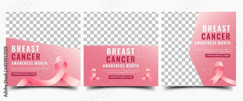 Set of Breast cancer awareness month social media post template. Modern gradient pink background with ribbon and place for the photo. Usable for social media, banner, card, and website. #459933109